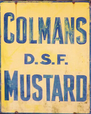 Colmans Mustard On ENAMEL TYPE METAL TIN SIGN WALL PLAQUE