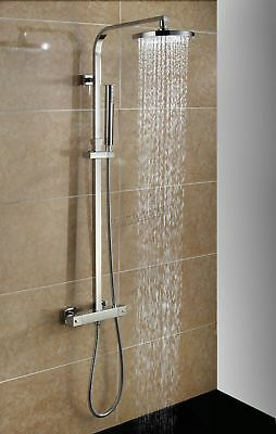 FoxHunter Bathroom Mixer Shower Set Twin Head Round Chrome Thermostatic SS03 New