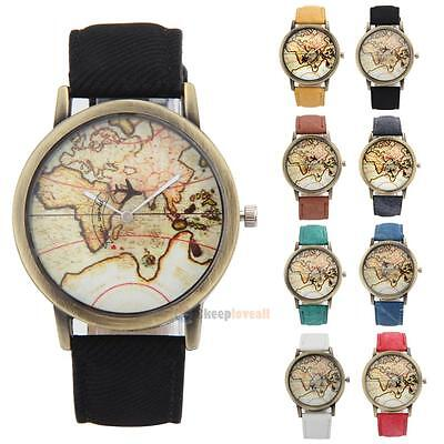Vintage world map watch globe moving airplane watch unisex leather vintage world map watch globe moving airplane watch unisex leather travel watch gumiabroncs Gallery