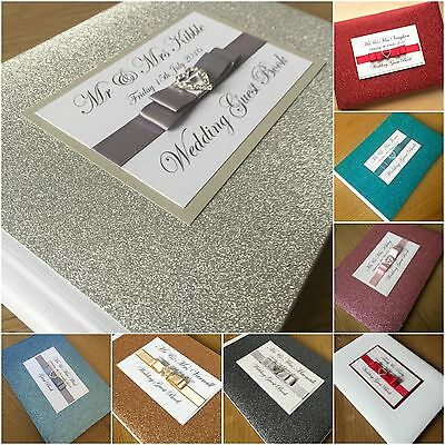 Personalised Glitter Sparkle Diamante Wedding/engagement Guest Book Many Colours