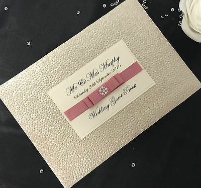 Personalised Pearlescent Embossed Wedding/engagement Guest Book Many Colours