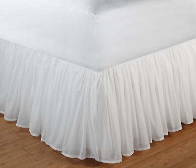 Greenland Home GL-1107FBST Cotton Voile Bed Skirt 15 Inch Twin White NEW