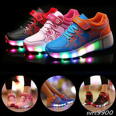 New Unisex LED Light Shoes Wheels Roller Skate Shoes Kids Child Sports Sneakers