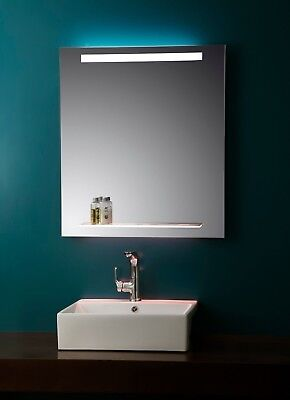 Bathroom Mirror - Lighted Vanity Mirror With Glass Shelf - LED Mirror - Nissa