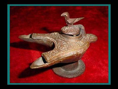 Unique ANTIQUE Embossed INDO PERSIAN Bronze 2 Font OIL LAMP with Falcon on LID