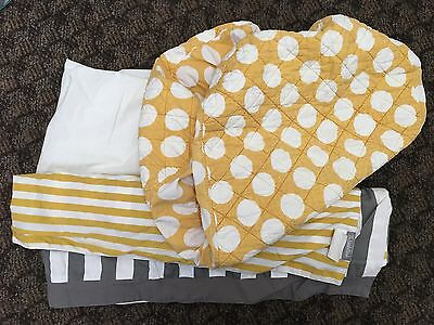 Land Of Nod Not a Peep Skirt and Changing cover pad Yellow polkadot Stripes