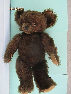 Vintage antique Teddy Bear straw stuffed jointed arms legs glass eyes