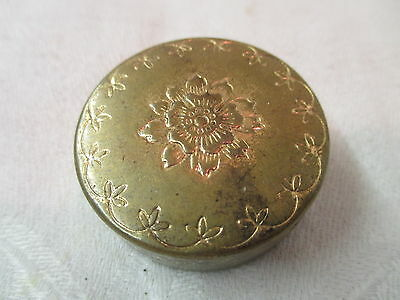Vintage round brass/tin Pill Box with floral design