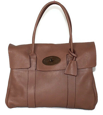 MULBERRY Bayswater classic textured leather handbag tote salmon pink tan