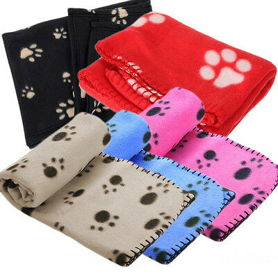 Pet Blanket Small Large Paw Print Cat Dog Puppy Fleece Soft Pet Bed Quilt NEW