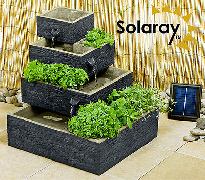 4 Tier Herb Planter Water Feature Fountain Cascade Solar Powered Modern Garden