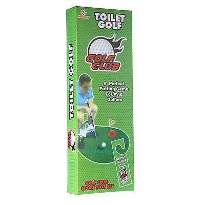 Toilet Bathroom Golf Time Funny Mini Game Potty Golf Putter Novelty Gag