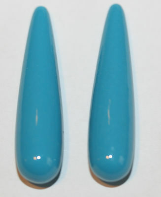 AAA TOP FINE Recons Turquoise  Long Drop Briolette  Pair  38x9mm Half Drilled