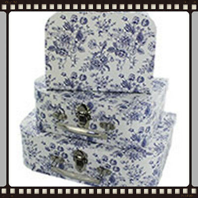 Lovely decorative set of  3 suitcases floral blue and white