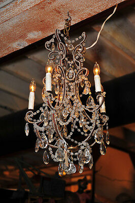 Small Antique Crystal Chandelier w/4 candles c.1920s