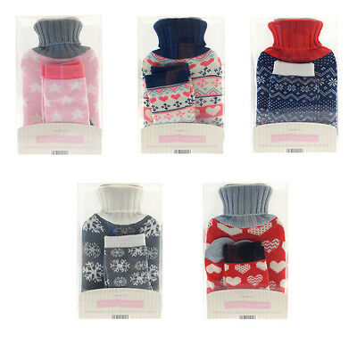 Mini Hot Water 1 Litre Bottle and Socks With Knitted Cover Christmas Gift Ideas
