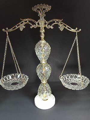 Beautiful Antique Brass and Cut Glass Display with Hanging Dishes on Marble Base