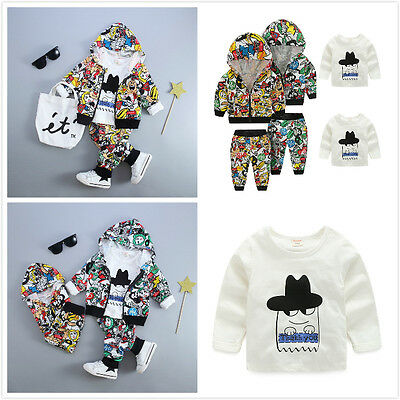 Boys Clothes Kids Tracksuit Cartoon Hoodie Zip Coat T-shirt Trousers 3pcs Set