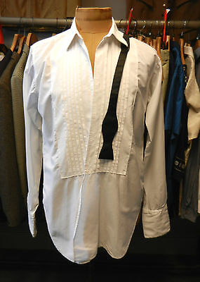 """VINTAGE DRESS SHIRT 50s formal for studs double cuffs pleat front ROCOLA 15.5"""""""