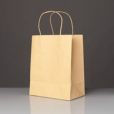 50 Kraft Brown Paper Gift Bags with Handles for Weddings, Party Favors, Treats