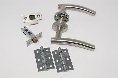 12 X Arched Door Handle Pack Latch Set & 2 x Bath Sets, Satin SS with Hinges