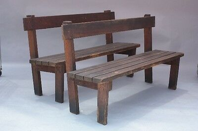 Pair of Antique Wooden Benches w Simple Rustic Design & Vintage Patina (9275)