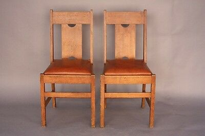 Pair 1910 Arts & Crafts Side Chairs Craftsman Dining Room Seat Wood (8631)