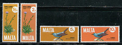 MALTA 1971 MNH SC.432/435 Thistle and Blue Rock Thrush