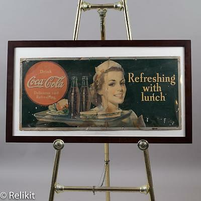 """1940 Coke, Coca-Cola """"Refreshing With Lunch"""" Carboard Litho Sign Rare Barn Find!"""
