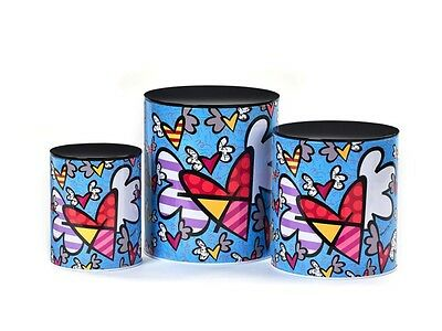 Romero Britto Nested Metal Canisters 3 Piece Set: Flying Hearts *  New *