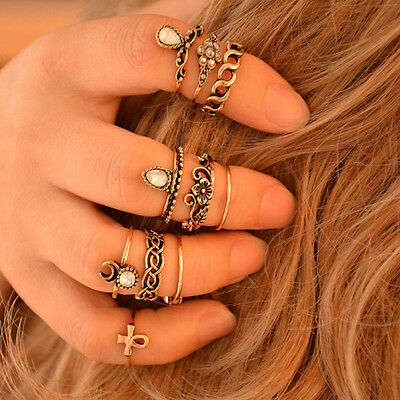 10Pcs/set Vintage Gold Silver Carved Crystal Moon Midi Knuckle Ring New Style