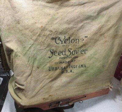 Cyclone Seeder Urbana Indiana Hand Crank Seed Spreader Sower Shoulder Bag