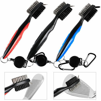 Golf Brush 2 Side Club Groove Ball Cleaner Cleaning Kit Tool Washer Red & Black