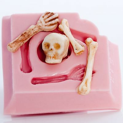 Skeleton Silicone Mold Skull & Bones Flexible Mould Food Safe or Craft (517)