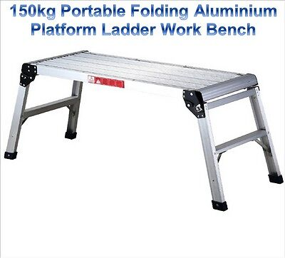 150kg Portable Folding Aluminium Platform Ladder Saw Horse Cutting Work Bench