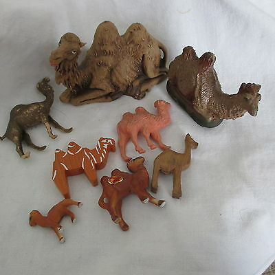 Lot of 8 camels Various sizes resin rubber plastic paper mache miniature-large