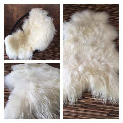 XXXL 130 cm !!!  White Ivory Icelandic Sheepskin Soft Real Fur Rug Perfect Gift