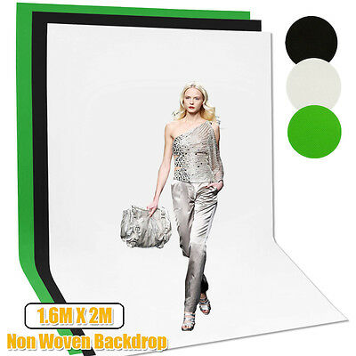 Photo Studio Screen 1.6 x 2m Black White Green Backdrop Non Woven Background Kit