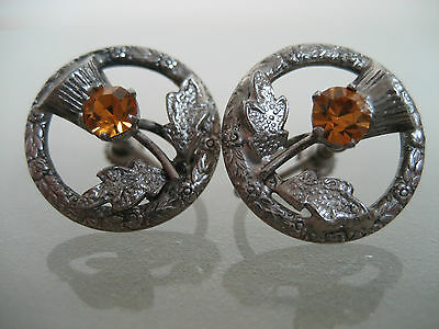 Vintage Sterling Silver Scottish Thistle Screw Back Earrings Signed Wbs