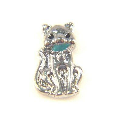 Floating Charms For Living Memory Locket Pendant Silver Kitten Cat Blue Bow 10mm