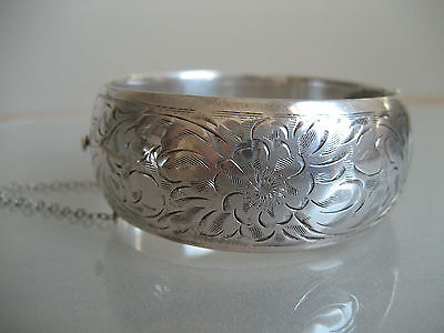 "Vintage Birks Sterling Silver Etched 1"" Wide Bracelet 35.7 Grams"