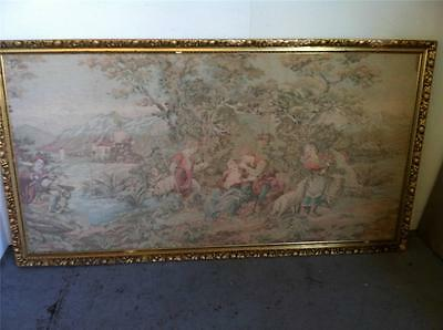 ANTIQUE / VINTAGE AUBUSSON STYLE  GILT FRAMED TAPESTRY..193x 105cm..