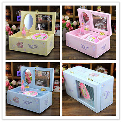Rotary Dance Girl Musical Jewellery Box Rectangle With Mirror Child NewYear Gift