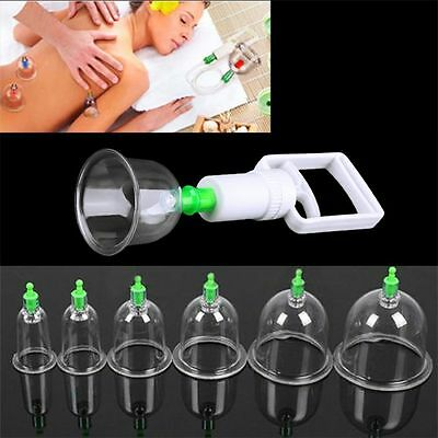 Effective Healthy 6/12 Cups Medical Vacuum Cupping Suction Therapy Device Set AA