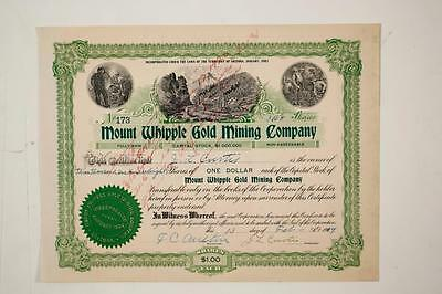 California - MOUNT WHIPPLE GOLD MINING CO. - Stock Certificate (1909)