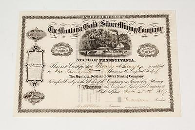 The Montana Gold & Silver Mining Company ~ 1867 stock certificate # 364