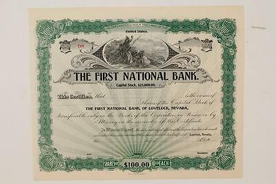 LOVELOCK, NEVADA - THE FIRST NATIONAL BANK - STOCK CERTIFICATE No. 98