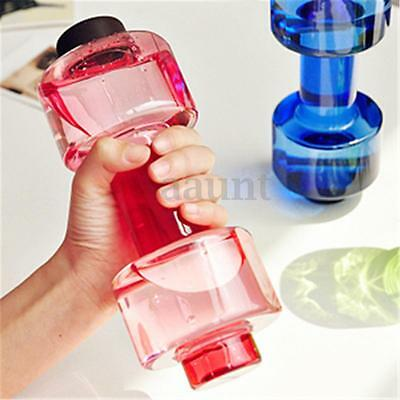 550ml Travel Dumbbell Shaped Cup Sport Fitness Water Drink Gym Exercise Bottle