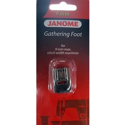 Janome 9mm Gathering Foot - Ruffles heirloom puffing snap on clip S5 MC8200 S7