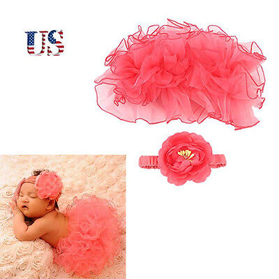 US Newborn Baby Girl Headdress Flower Tutu Skirt Clothes Outfit For Photo Prop